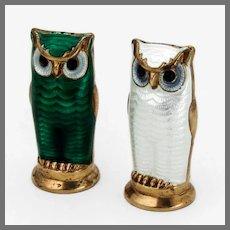 Enamel Owl Salt Pepper Shakers Set David Andersen Gilt Sterling Silver
