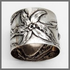Floral Napkin Ring German Hanau 800 Silver No Mono