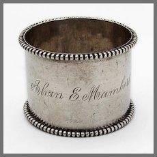 Beaded Rim Napkin Ring Campbell Metcalf Sterling Silver Mono Alvin E Mambert