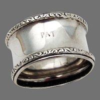 Scroll Border Napkin Ring Webster Sterling Silver Mono Pat