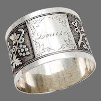 Grapevine Design Napkin Ring  Sterling Silver Mono Louise