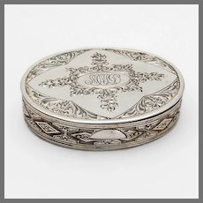 Engraved Small Oval Box Sterling Silver Mono MMD