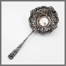 Stieff Rose Tea Strainer Double Struck Handle Sterling Silver Mono AWB