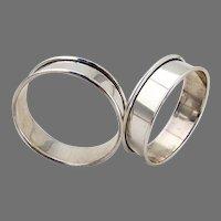 Narrow Napkin Rings Pair Reed Barton Sterling Silver No Mono