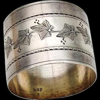 Engraved Ivy Design Napkin Ring Coin Silver No Mono