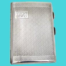 English Small Cigarette Case Sterling Silver 1929 Mono MK