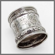 Floral Napkin Ring Gorham Sterling Silver 1860 Mono OCM