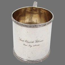 Ornate Border Mug Cup Philip Garrett Coin Silver Mono 1828