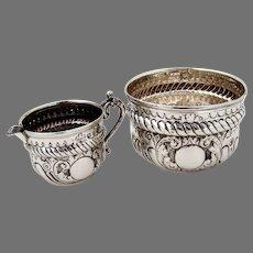 English Repousse Creamer Sugar Bowl Set Sterling Silver 1899