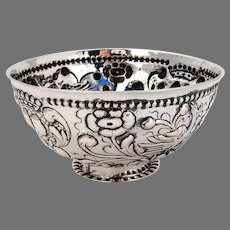 Repousse Floral Bird Design Bowl Continental Silver Late 18th Century