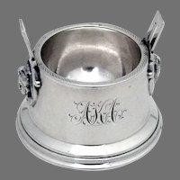 Egyptian Revival Open Salt Dish Wood Hughes Sterling Silver 1870 Mono AKA