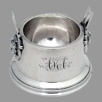 Egyptian Revival Open Salt Dish Wood Hughes Sterling Silver 1870 Mono AKA