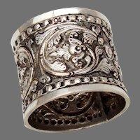 Ornate Repousse Napkin Ring 900 Silver No Mono