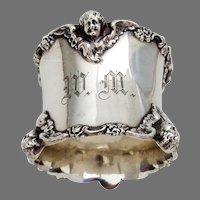 Cherub Napkin Ring Shreve Sterling Silver Mono WM
