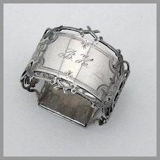 Cutwork Foliate Napkin Ring Gorham Sterling Silver 1870 Mono BH
