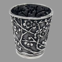 Cherry Blossom Shot Cup Chinese Export Silver Wang Hing 1900