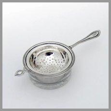 King Philip Tea Strainer Glass Underplate Set Watson Sterling Silver FMW