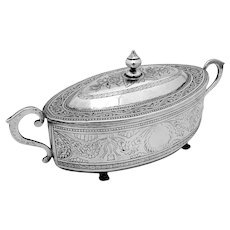 Engraved Floral Footed Box Cast Handles Southeast Asian Silver 1900