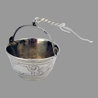 Russian Engraved Tea Strainer Basket 84 Standard Silver 1900