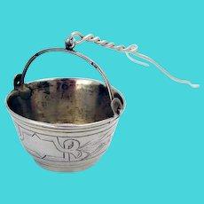 Russian Engraved Tea Strainer Basket 84 Standard Silver 1900