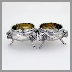 Tiffany Floral Open Salt Dishes Pair Rams Head Feet Sterling Silver Mono H