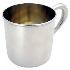 Lunt Baby Cup Hollow Handle Gilt Interior Sterling Silver No Mono