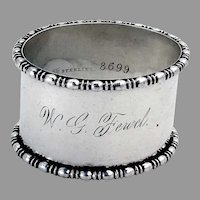 Beaded Oval Napkin Ring Towle Sterling Silver 1900 Mono WG Fewel