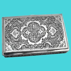 Persian Engraved Rectangular Box Gilt Interior 84 Standard Silver