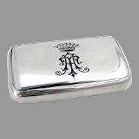 Austrian Snuff Box 800 Silver Crowned Blue Enamel Monogram AT 1900