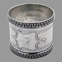Engine Turned Napkin Ring Shield Cartouche Coin Silver 1860s Mono JES