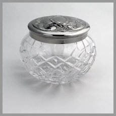 Waterford Cut Crystal Dresser Jar Silver Plated Lid