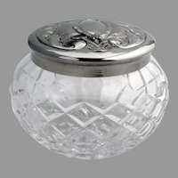 Waterford Cut Crystal Dresser Jar Silver Plated Lid