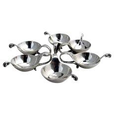 Georg Jensen No 110 6 Open Salt Dishes Spoons Set 830 Silver 1927