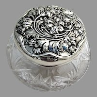 Unger Brothers Floral Dresser Jar Cut Glass Sterling Silver 1900