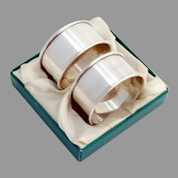 Reed Barton Napkin Rings Pair Sterling Silver Boxed Set No Mono