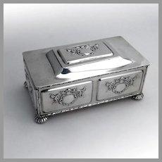 Heraldic Jewelry Box Blue Velvet Interior Frank Smith Sterling Silver 1910