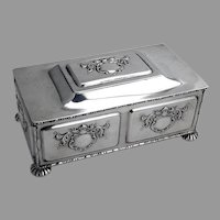 Heraldic Jewelry Box Blue Velvet Interior Frank Smith Sterling Silver 1910