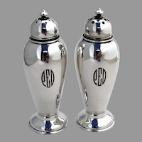 Gorham Colonial Revival Salt Pepper Shakers Set Sterling 1933 Mono PED