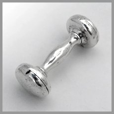 Webster Dumbbell Form Baby Rattle Sterling Silver 1950