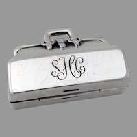 Tiffany Doctors Bag Form Pill Box Sterling Silver Mono SHC