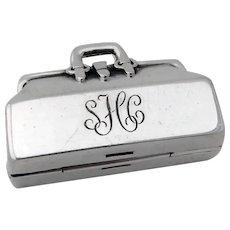 Tiffany Doctors Bag Form Pill Box Sterling Silver Mono SHC