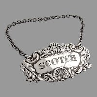 English Scotch Bottle Tag Label Collins Cook Sterling Silver 1965