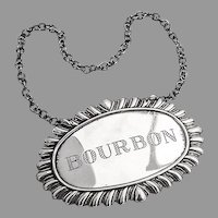Bourbon Bottle Tag Label Gadroon Border Sterling Silver