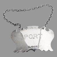 English Port Bottle Tag Label David Shaw Sterling Silver 1979
