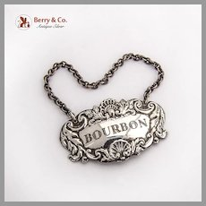 English Bourbon Bottle Tag Label Collins Cook Sterling Silver 1965
