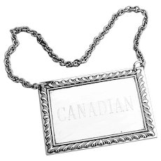 Gadroon Canadian Bottle Tag Label Kirk Son Sterling Silver