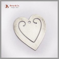 Heart Form Bookmark Sterling Silver No Mono