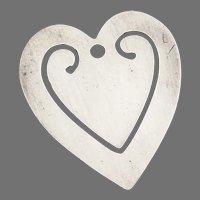 Heart Form Bookmark Sterling Silver No Mono