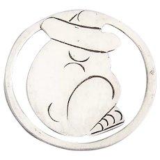 Sleeping Sombrero Man Round Bookmark Sterling Silver Mexico