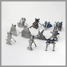 11 Figural Japanese Place Card Holders Set Sterling Silver